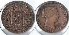 1861 Spain 25 centimos coin cleaned