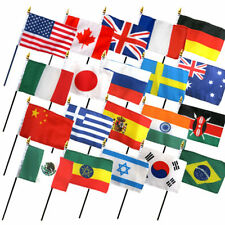 """Set of 20 International Countries 4""""x6"""" Desk Table Stick Flag (No Bases)"""