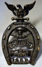 Odd Fellows Cast Iron Eagle & Horse Shoe Good Luck 1890's Trivet Or Stand