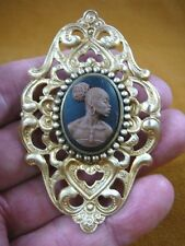 (CA10-19) RARE African American LADY brown + black CAMEO Pin Pendant JEWELRY