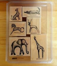 2003 Stampin Up IN THE WILD 6pc RUBBER INK STAMP SET Cheetah Zebra Giraffe Croc