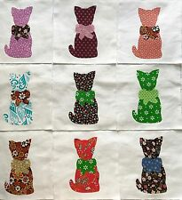 """Calico Cat with Bow Quilt Top 6"""" Blocks Cotton Fabric Appliques  Lot of 9"""