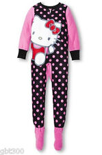 HELLO KITTY Girls Footed Fleece Pajama Black Pink L 10-12 Blanket Sleeper Onesie