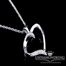Women's Ladies White Gold Finish Genuine Diamond Heart Pendant Chain Necklace