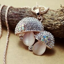 Fashion Gold Plated Mushroom Pendant Crystal mosaic Sweater chain Necklac  KK150