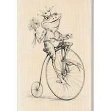 INKADINKADO RUBBER STAMPS FROG PRINCE ON A BIKE NEW STAMP