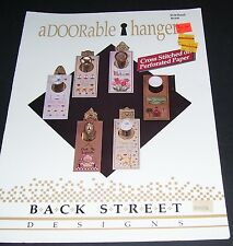 BACK STREET COUNTED CROSS STITCH PATTERN LEAFLET ADORABLE HANGERS BS109 1989 OOP