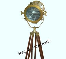 VINTAGE Theatre SEARCH Light with Solid Wooden Tripod Floor Lamp NAUTICA/Retro