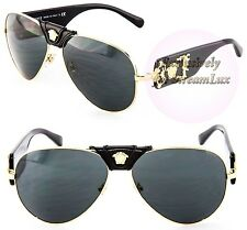VERSACE Aviator Gold Black Sunglasses VE 2150-Q 1002/87 by LADY GAGA for VERSACE