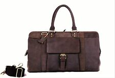 Large Genuine Leather Duffle Weekender Overnight Holdall Travel Men Bag Women