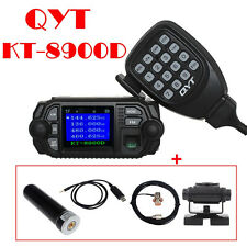 QTY KT-8900D VHF UHF Mobile Radio Transceiver+ Antenna+Mount+Cable+Program Cable