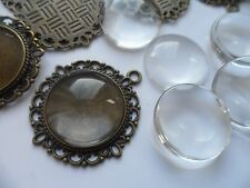 10 x 20mm Bronze Pendant Kit.35x32mm,.Jewellery settings & clear glass cabochons
