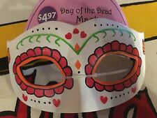 Childs 3+ Mexican Day of Dead Costume Eye Mask with elastic band