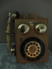 VINTAGE REPLICA OF 1927 WOOD BRASS VICTORIAN COTTAGE WALL MOUNT ROTARY PHONE SET