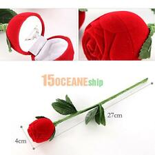 Red Rose Engagement Wedding Earring Ring Pendant Jewelry Display Holder Box Gift