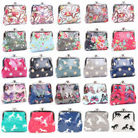 Quality Oilcloth Flower Polka Dots Butterfly OWL Print Coin Purse Wallet Bag