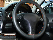 FOR TOYOTA VENZA 08-12 REAL BLACK LEATHER STEERING WHEEL COVER ORANGE STITCH