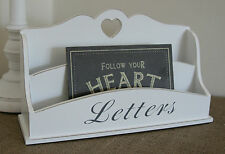 Vintage Chic&Shabby Heart Letter Rack Post Tray Desk Tidy White Hall Table