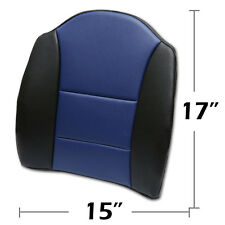 """BIG SIZE 15""""X17"""" S.LEATHER LUMBAR SUPPORT BACK CUSHION ALL PURPOSE BLACK/BLUE"""