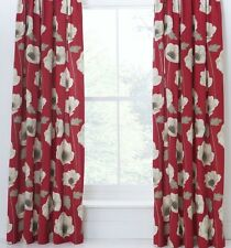 100% Cotton Ring Top Eyelet Poppy Red Curtains 229x229cm, 90x90""