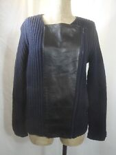 Madewell Blue Merino Wool Zipped Leather Cardigan SZ S Retail $168