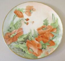 ANTIQUE LARGE T&V LIMOGES FRANCE HAND PAINTED POPPY FLOWER CHARGER PLATE TRAY