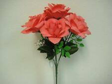 "2 Bushes CORAL Open Rose 7 Artificial Silk Flowers 15"" Bouquet 039CL"