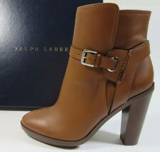 Ralph Lauren Leonora Sports Gold Calfskin Ladies 39.5 B Boots NIB $895 Tan New