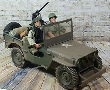 "Vtg WWII 1941Jeep Willy's Hasbro 2001 Weathered Version & 2-12"" GI JOE'S Figures"