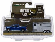 1:64 GreenLight *HITCH & TOW 5* Blue 2015 Silverado Piclup w/HORSE Trailer NIP!