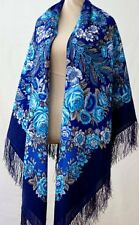Large Pavlovo Posad Russian Scarf 146x146 Wool 1462-14 Blue