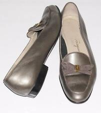 SALVATORE FERRAGAMO~METALLIC~LEATHER *BOW ACCENT* BALLET FLATS~FORMAL SHOES~8B