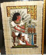 LARGE Signed Orig Hand Painted Egyptian Papyrus Art Luxor Funeral Hieroglyphics