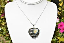 "CHARGED Wire Wrapped Labradorite Heart Pendant REIKI ENERGY + 20"" 925 Chain"