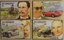 ST VINCENT 1987 1056-59 100th Ann Jahre Automobile Cars Ferrari Benz Ford MNH