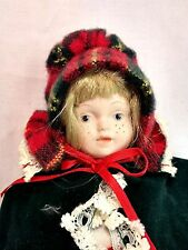 "Tartain Plaid Christmas Holiday Mini Female Girl Caroler 8"" Porcelain Doll EUC"