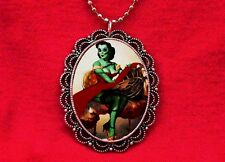 ZOMBIE PIN UP GIRL VINTAGE PENDANT NECKLACE ROCKABILLY