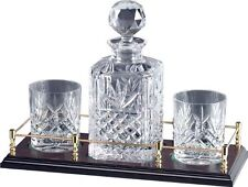 Hand Cut Crystal Decanter on Wooden Tray with Gallery Rail and Whisky Glasses