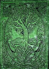 "Celtic Tree of Life Tapestry Cotton Wall Hanging 80"" x 58"" Green"