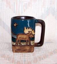 Mara Stoneware 12 Ounce Square Moose Mug Dark Handle