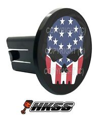 Universal Class 2  3 Tow Hitch Receiver Insert Cover Plug - USA SKULL G B 7N0