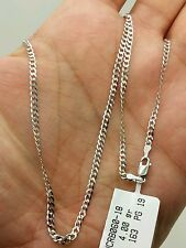 "14k Solid White Gold Cuban Curb Link Necklace Chain 20"" 2.6mm"