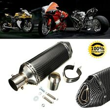 Motorcycle Carbon Fiber 38-51mm Exhaust Muffler w/ Removable Silencer ATV Bike