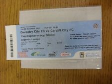 22/11/2011 Ticket: Coventry City v Cardiff City  (Legends Lounge). Unless previo