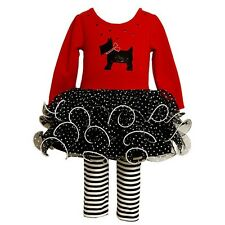 Bonnie Jean Scottie Dog rosso Tutu Vestito Leggings Set Bambina 3-6 mesi