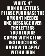 """10 4"""" WHITE IRON ON LETTERS & NUMBERS TRANSFER PRINTING"""