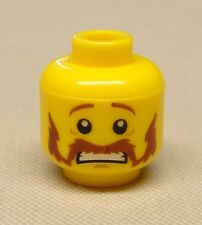 x1 NEW Lego Minifig Head Moustache Handlebar and Sideburns Brown, Scared Pattern