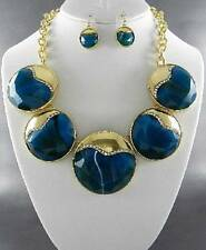 Dark Teal Blue Circle Resin Lucite Stud Gold Tone Frame Chunky Necklace Earring