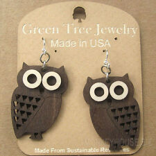LITTLE HOOT OWL laser-cut wood earrings Green Tree Jewelry BROWN birds 1363