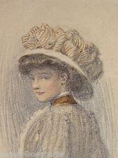 SUPERBE DESSIN JEUNE FEMME MODE BELLE EPOQUE ART NOUVEAU CHAPEAU SIGNE 1907